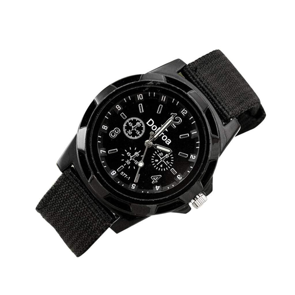 WoCo Men's Watch,Analog Quartz Sport Dial Wristwatch with Braided Canvas Mesh Band Watches,Gifts for Summer(Black,Deduct $4 for 2 pcs immediately)