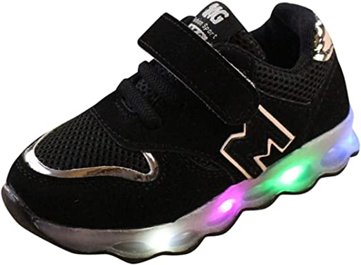 4.5-5 Years Old, Blue Kids Toddler Boys Girls Led Light Shoes Mesh Sneakers for 1-6 Years Old Baby Child Casual Sports Walking Shoes
