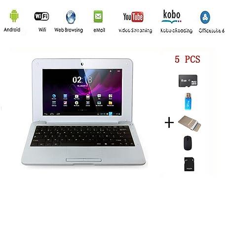 G-Anica® Netbook Ordenador portátil Android 4.4 (WIFI, 1.5GHz 512MB de RAM, 4GB de disco duro),Bolsa de ordenador portátil+Ratón+Adaptar+Tarjeta ...