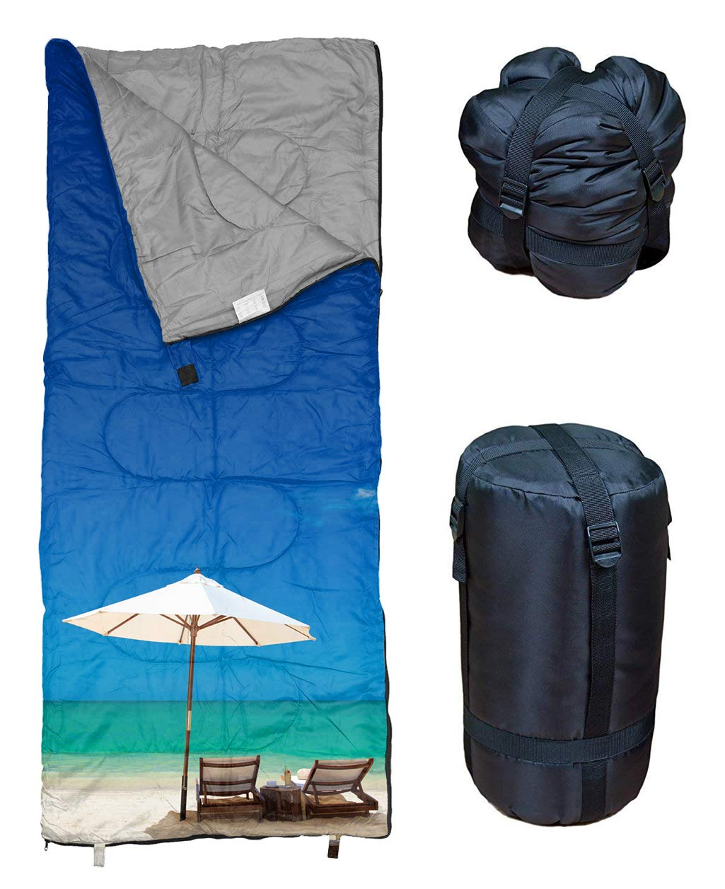 REVALCAMP Lightweight Sleeping Bag - Beach - Indoor & Outdoor use. Great for Kids, Teens & Adults. Ultra Light and Compact Bags are Perfect for Hiking, Backpacking, Camping & Travel. 6