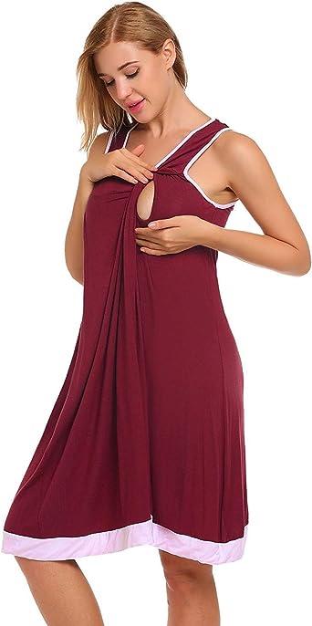 Camisa De Dormir De Maternidad para Mujer Camisón Ropa De Dormir con Camisón De Enfermería Sin Mangas O Cuello para La Maternidad De Lactancia Materna Desgaste: Amazon.es: Ropa y accesorios