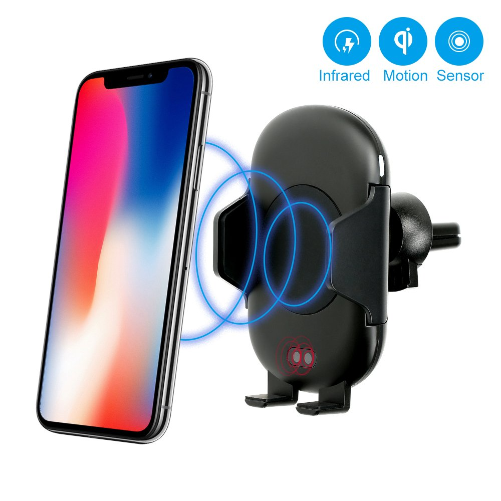 Wireless Car Charger, FOTOWELT Automatic Qi Wireless Rapid Charger Fast Wireless Charging Car Phone Mount Air Vent Phone Holder for Samsung Galaxy S9 S9 Plus S8 S7/S7 Edge Note 8 5 iPhone X 8/8 Plus by FOTOWELT (Image #1)