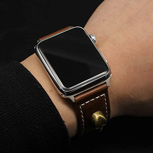 Bestow Banda de Reloj de Piel de Vaca de Apple Relojes de Pulsera Reloj para Reloj de Apple(café): Amazon.es: Ropa y accesorios