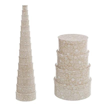 Cajas Forradas Beige de cartón Redondas árabes para decoración Arabia - LOLAhome