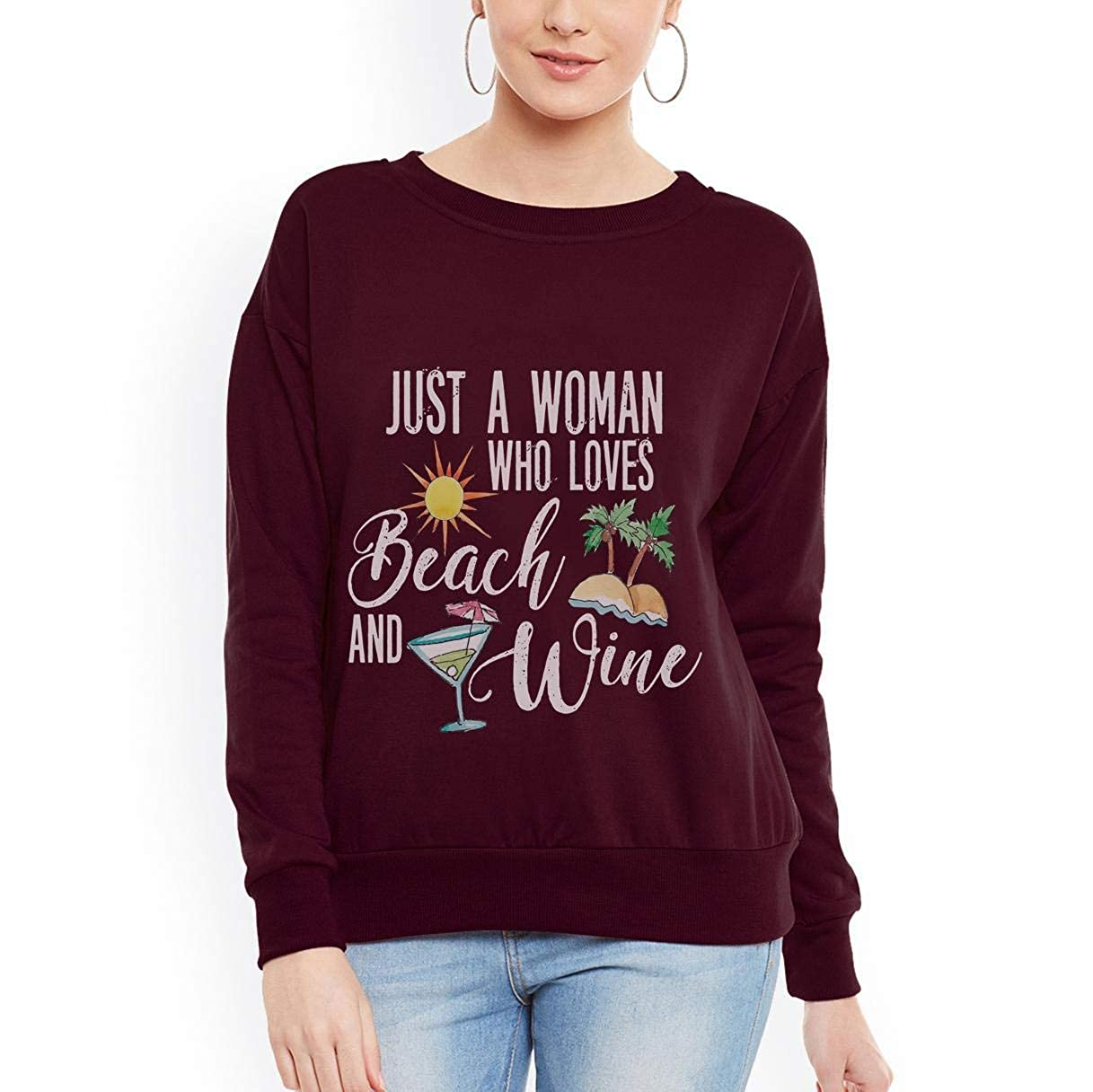 Just a who Woman who Loves Beaches and Wine Summer Coming Women Sweatshirt tee