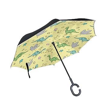 Mnsruu - Paraguas invertido de doble capa con diseño de dinosaurio sobre fondo amarillo, plegable