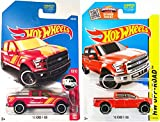 Hot Wheels '15 Ford F-150 Off-Road Pickup Truck Red #119 & HW Rescue truck #185 2017 model