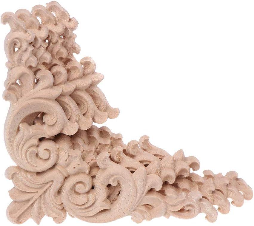Gwxevce 4 pi/èces//Ensemble Bois sculpt/é Coin Incrustation Applique Cadre Non Peint Armoire Placard Autocollants pour d/écoration de Meubles de Maison 12x12 cm Bois sculpt/é Autocollants