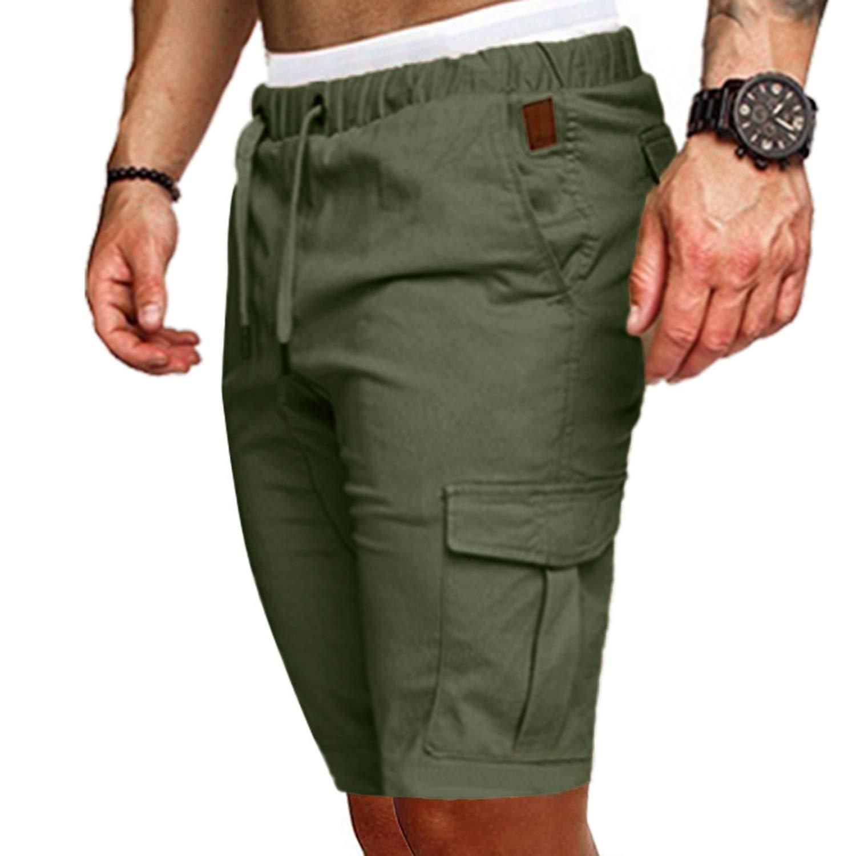 Lishfun Men Cotton Loose Work Casual Short Pants Plus Size Men Casual Elastic Solid Pockets Trousers #503,Black,S,China