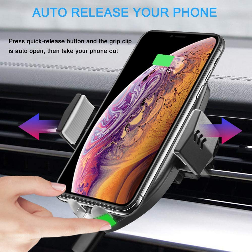 Wireless Car Charger Mount – Auto-Clamp 10W 7.5W Fast Charging 5W Charger, Windshield Dashboard Air Vent Phone Holder with Dual USB Car Charger 3.0 Compatible iPhone Xs XR 8, Samsung S10 S9 Note 9