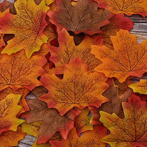 Sunm boutique 400 Pcs Artificial Maple Leaves Assorted Mixed Fall Colored Maple Leaves for Wedding Festival Party Garden Thanksgiving Autumn Decoration (Maple Leaves #1, Pack of 400) -