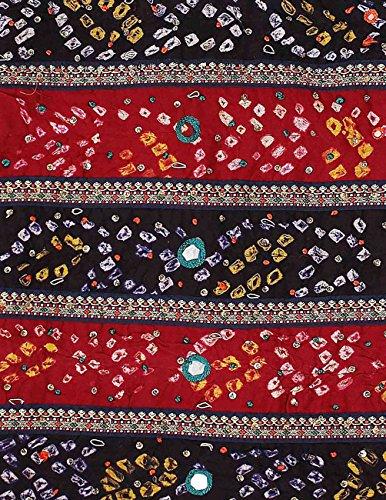 Longue Soirée Robe rouge et noir pour les femmes indiennes de coton Tie Dye Imprimer la broderie perlée 44 pouces