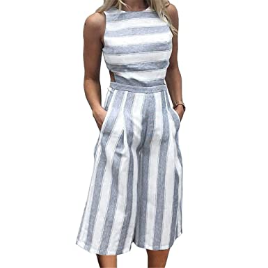 7cbb65614 Amazon.com  TFLYING Summer Striped Jumpsuit Wide Legs Office Ladies ...
