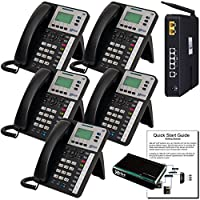 XBLUE X25 VoIP Phone System (C2505) with (5) X3030 IP Phones - Auto Attendant, Voicemail, Caller ID, Paging & Remote Phones
