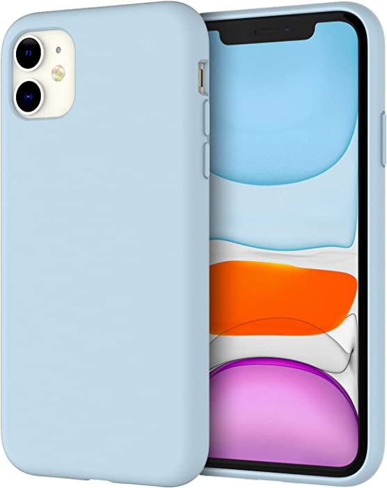 JETech Silicone Case for iPhone 11 (2019) 6.1-Inch, Silky-Soft Touch Full-Body Protective Case, Shockproof Cover with Microfiber Lining (Blue)