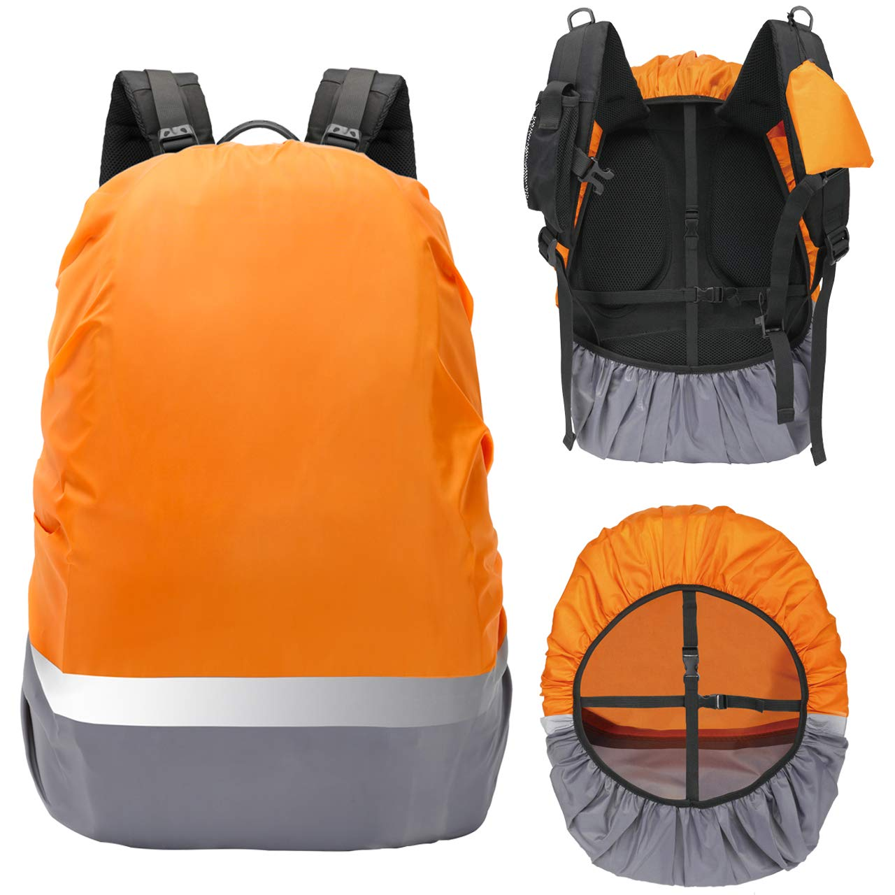 CANAMI バックパック レインカバー 防水 バックパックカバー 反射ストラップ (30-55L) アップグレード 調節可能 滑り止めバックルストラップ+ポータブル収納パック バックパックカバー 防雨 アウトドア バイキング ハイキング キャンプ B07QKY46XW Orange+Grey with Reflective Strip M (30-40L)