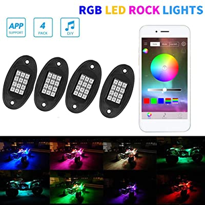 XLANJINGJ RGB LED Rock Lights with Bluetooth Wireless Remote Controllers,4 Pods Multicolor Neon Underglow Waterproof Music Lighting Kit for Jeep Off Road Truck Car ATV SUV Motorcycle, DC 12V: Automotive