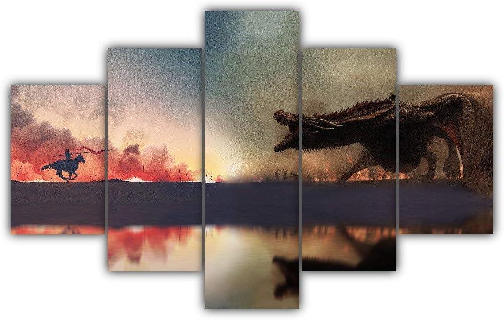 5 Panels Jaime Vs Daenerys Multi Canvas Art Dragon Game Of Thrones Targaryen Lannister Drogon Bronn Invasion Framed Ready To Hang Wall Poster Piece Print Home Decor