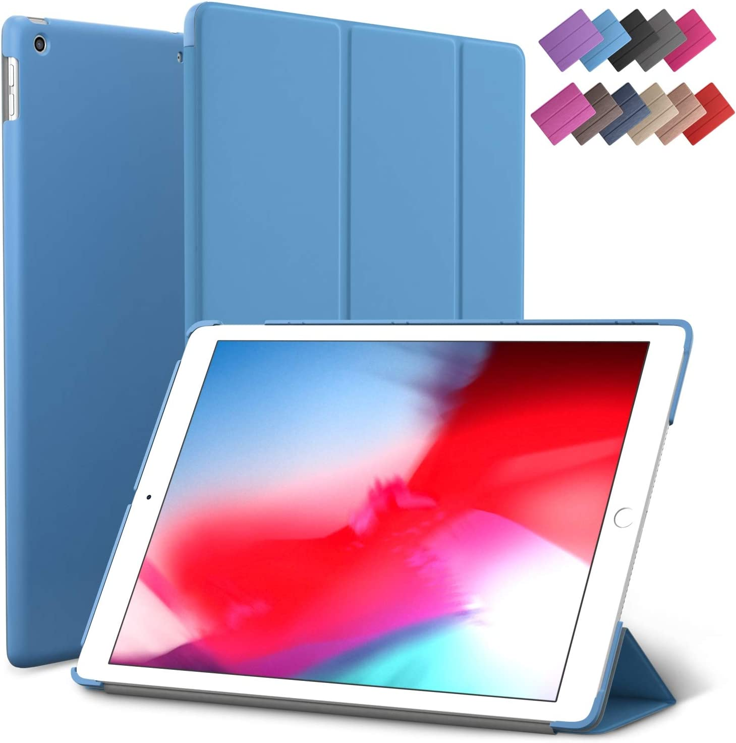 iPad Mini 5 case, ROARTZ Blue Slim Fit Smart Rubber Coated Folio Case Hard Cover Light-Weight Wake/Sleep for Apple iPad Mini 5th Generation 2019 Model A2133 A2124 A2126 7.9-inch Display