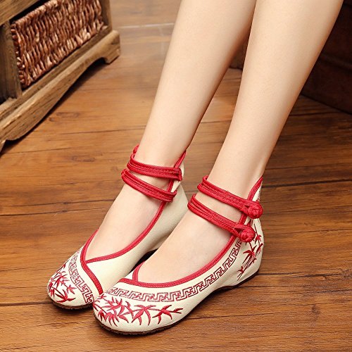 Womens Peacock Embroidery Spangly Beading Girls Platform Prom Dress Shoes Red-192 6BfxYHvbT6