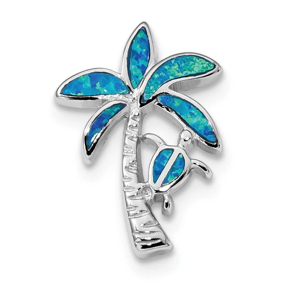 Beautiful Sterling silver 925 sterling Sterling Silver Rhodium-plated Blue Inlay Created Opal Palm Tree Slide