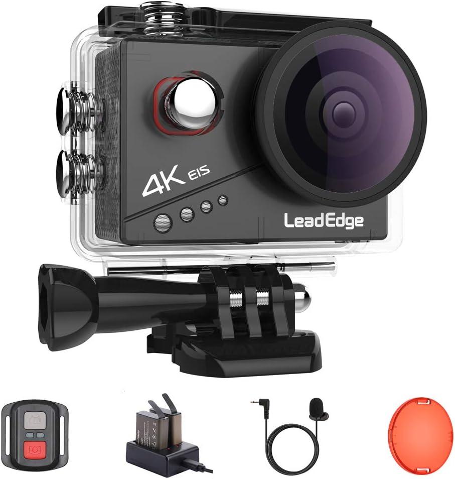 LeadEdge Cámara Deportiva 4K 20MP EIS Anti-Vibración Wi-Fi Micrófono Externo Control Remoto 170° Gran Angular Camara Acuática con 2x1050mAh Accesorio