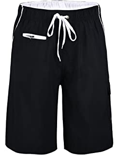 1a297801e1 Unitop Men's Swim Trunks Colortful Striped Beach Board Shorts with Lining