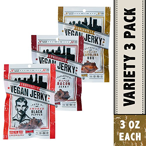 Louisville Vegan Jerky - 3 Flavor Variety Pack, Vegetarian & Vegan Friendly Jerky, Non-GMO Soy Protein, Gluten-Free Ingredients (Smoked Black Pepper, Maple Bacon & Smokey Carolina BBQ , 3 oz)