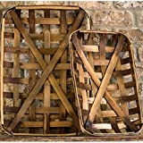 Park Hill Collection Set of TWO Tobacco Baskets Vintage Farmhouse Rustic