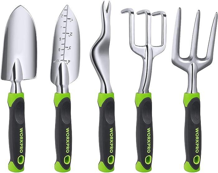 WORKPRO Garden Tool Set, 5 Pieces Gardening Work Gifts, Cast Aluminum Outdoor Hand Tools Kit for Men and Women, Including Trowel Transplanter Weeder Hand Fork Cultivator