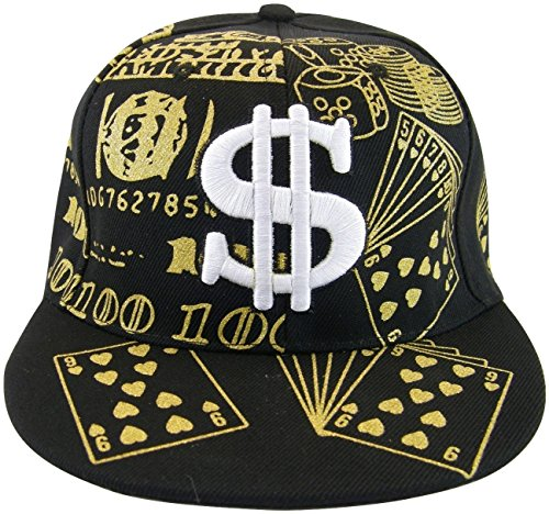 Dollar Sign $ Men's Adjustable Snapback Baseball Cap with Bling (Black)