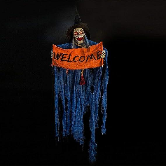 WEIIN Halloween Colgante Fantasma Voz Cráneo eléctrico ...