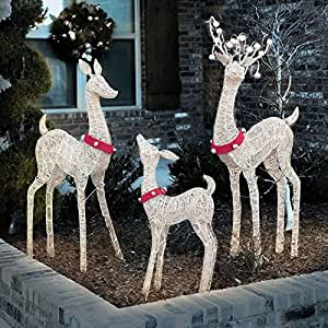 Amazon.com : Life-Size Indoor / Outdoor Set of 3 Lighted ... on Backyard Decorations Amazon id=70494