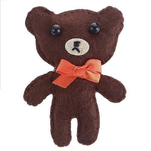 Broche de fieltro de oso de peluche, acolchado, estilo retro, 7,5