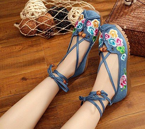 Y&M Zapatos bordados, lenguado de tendón, estilo étnico, hembrashoes, moda, cómodo, zapatos de baile Blue