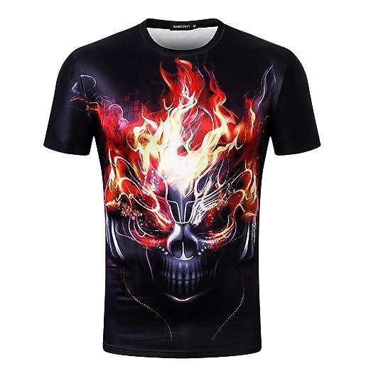 19f80eee24f Amazon.com  Challyhope T-Shirt Men Punk Boys Hip Hop Skull 3D Print ...