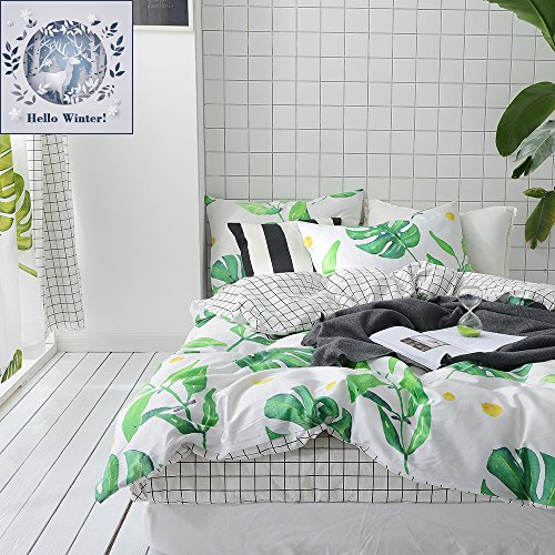 BuLuTu Palm Tree Leaves Print Cotton Kids Bedding Cover Sets Queen For Boys Girls Reversible Nature Lattice Full Duvet Cover Sets White Hidden Zipper Closure With 4 Corner Ties (No Comforter) (Cotton Tropical Comforter)
