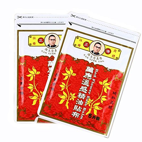 (Gan Geok Eng Pack of 2 Red Flower Essential Oil Pain Ease Balm Pain Relieving Medicated Plaster Taiwan Huge Haul, 10 PCs)