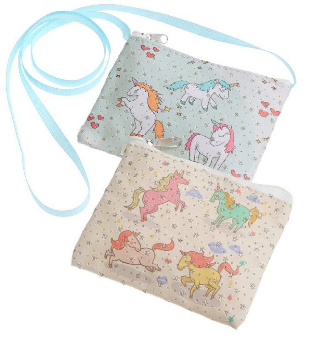 Magical Glitter Unicorn Small Purse Shoulder Handbag Cross Body Messenger Bag with Zipper for Girls Cosplay Dress Up Cosmetics Travel Make Up Stocking Filler (Cream)