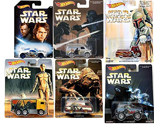 Hot Wheels Bounty Hunter Star Wars Ralph McQuarrie Pop Culture Real Riders Cars Bundled with Ford Van Darth Vader / Hiway Hauler / Bronco / Boba Fett Dodge Collector Series 6 Items