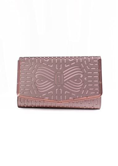 227489b4a2f Ted Baker London Bree Leather Laser Cut Bow Clutch Bag in Rose Gold ...