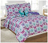 Turquoise and Purple Comforter Set Mk Collection 8pc Full Comforter Set With Furry Butterfly Pillow Butterfly Turquoise Purple Pink White New