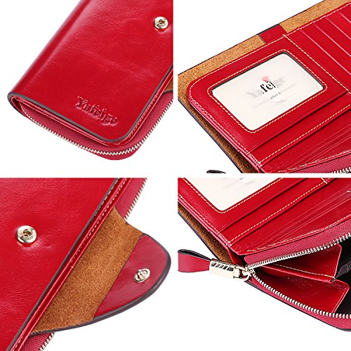 Yafeige Large Luxury Women's RFID Blocking Tri-fold Leather Wallet Zipper Ladies Clutch Purse(Red) by Yafeige (Image #7)