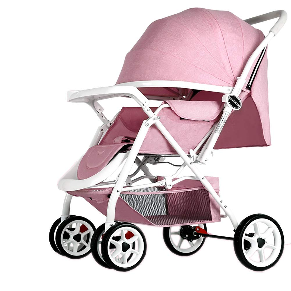 Mariny 赤ちゃんのベビーカー軽量のポータブル高地は、座って、折り畳み式のシンプルなハンドルを可逆的なサスペンション新生児のバギーのトロリー (色 : ピンク)   B07R9WVY5Q