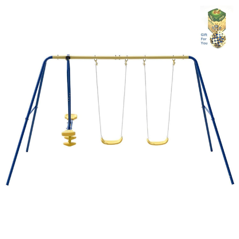costwayメタルAフレーム4つSeat Swing Set for 4 children B07FMTCYKG