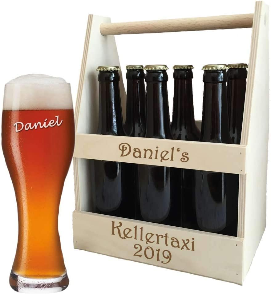Bierträger aus Holz + Bierglas mit Namen