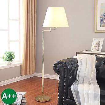 Lampenwelt Stehlampe Pola In Creme Aus Textil U A Fur Wohnzimmer