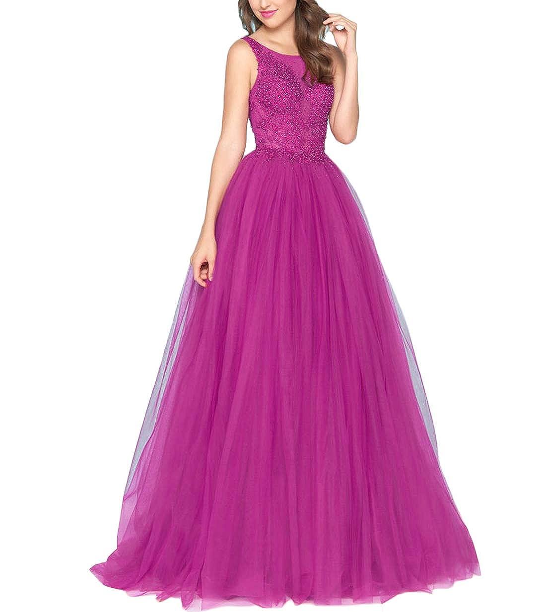 Fuchsia Yisha Bello Women's ALine Pearls Beaded Pro Dress Long Tulle Quinceanera Dress Evening Ball Gowns