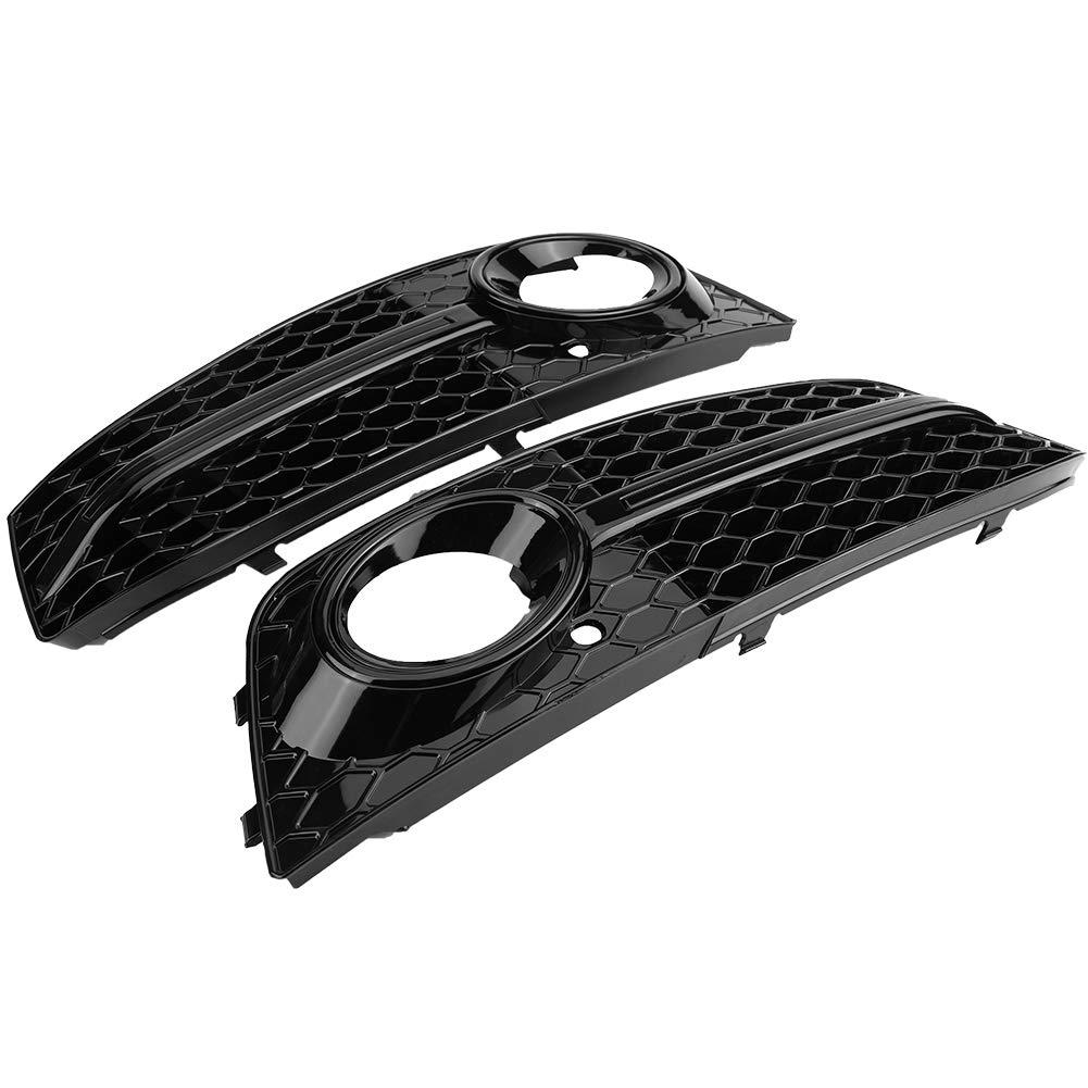 2pcs pour grilles de projecteur antibrouillard noir brillant style RS4 pour A4 B8 2009-2012 Grille de protection antibrouillard avant