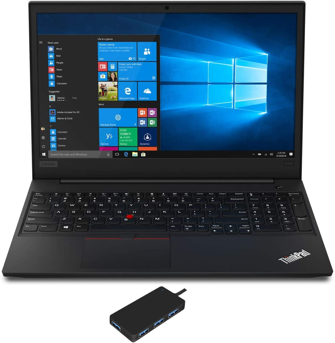 "Lenovo ThinkPad E595 Laptop (AMD Ryzen 7 3700U 4-Core, 64GB RAM, 1TB SATA SSD, AMD Radeon RX Vega 10, 15.6"" Full HD (1920x1080), WiFi, Bluetooth, Webcam, 2xUSB 3.1, Win 10 Pro) with USB3.0 Hub"